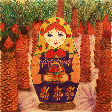 Matryoshka Klubnichka | Color Pencils on Paper | 26x26 cm | 2018