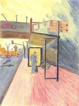 Bus Stop ll | Color Pencils on Paper | 17x13 cm | 2014