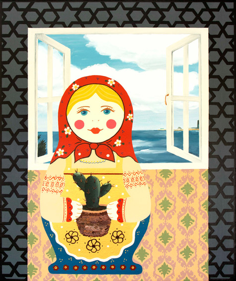Doll with Sabras | Acrylic on Canvas | 60x50 cm | 2020
