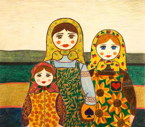 Three Female Figures   Color Pencils on Paper   26x30 cm   2018