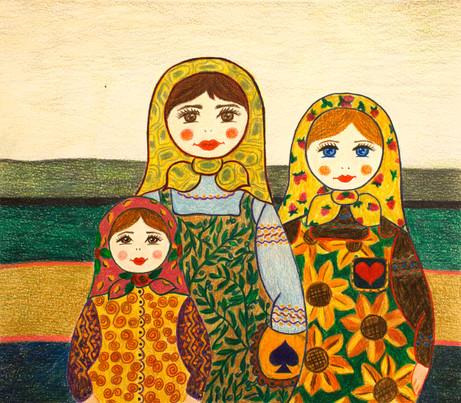 Three Female Figures | Color Pencils on Paper | 26x30 cm | 2018
