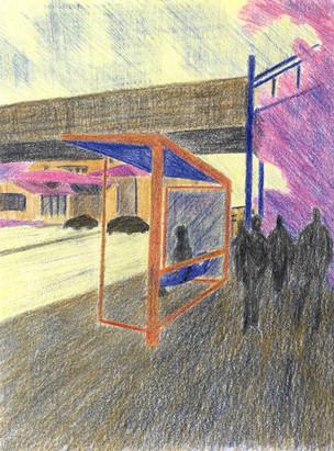 Bus Stop lll | Color Pencils on Paper | 17x13 cm | 2014