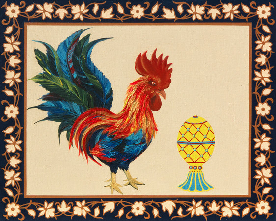 Faberge Egg and the Rooster (Kurochka Ryaba)   Acrylic on Canvas   50x60 cm   2020
