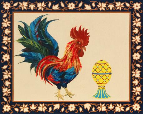 Faberge Egg and the Rooster (Kurochka Ryaba) | Acrylic on Canvas | 50x60 cm | 2020