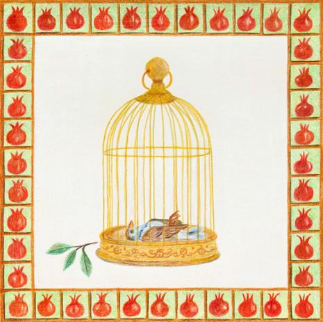 Golden Cage | Color Pencils on Paper | 28x28 cm | 2021