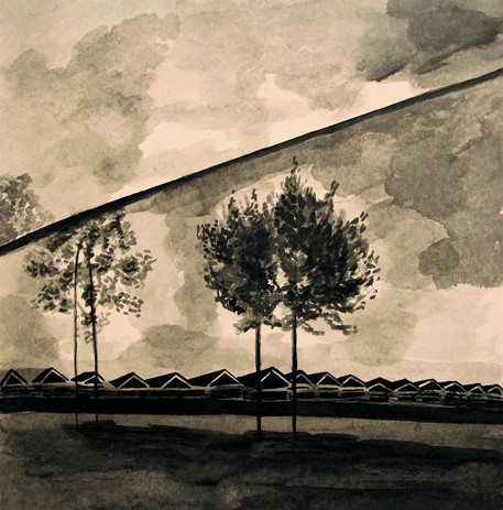 Two Trees | Black Ink on Paper | 24x24 cm | 2015