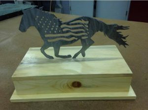 Americana Horse Metal Cut out on Blued Pine Pedestal