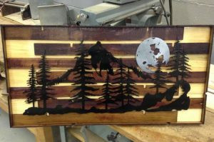 Mountain and Moon Metal Art on blued Pine and re-purposed Merlot Stained Oak Slats.