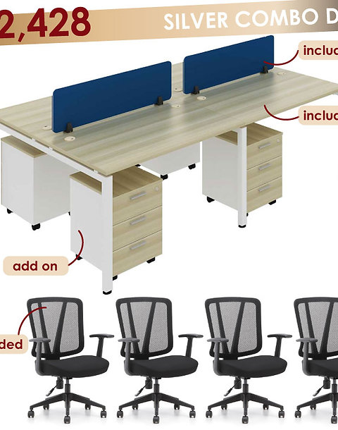 Silver Package - CLUSTER OF 4 Straight Table Workstation + Mesh Chair Included