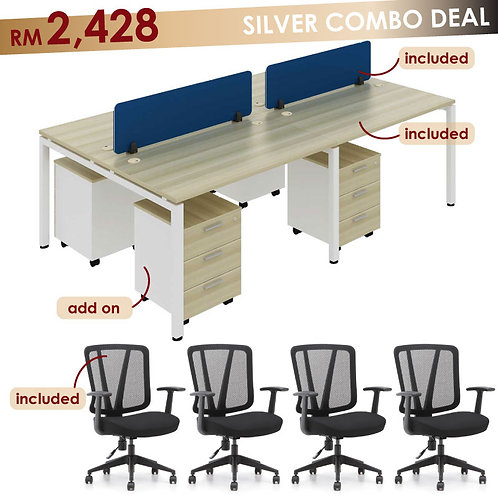 cheap workstation malaysia cluster of 4 l-shape table