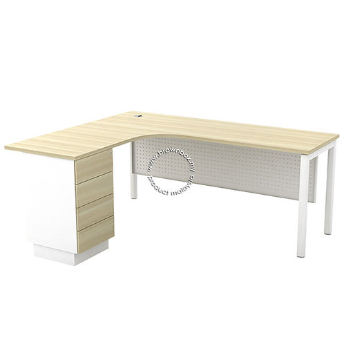 Malaysia office L-Shape Executive Table With 4D Mobile Pedestal