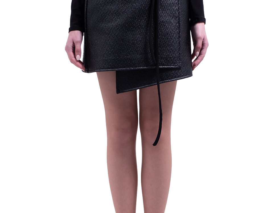 Asymmetric Wrap Skirt - Black