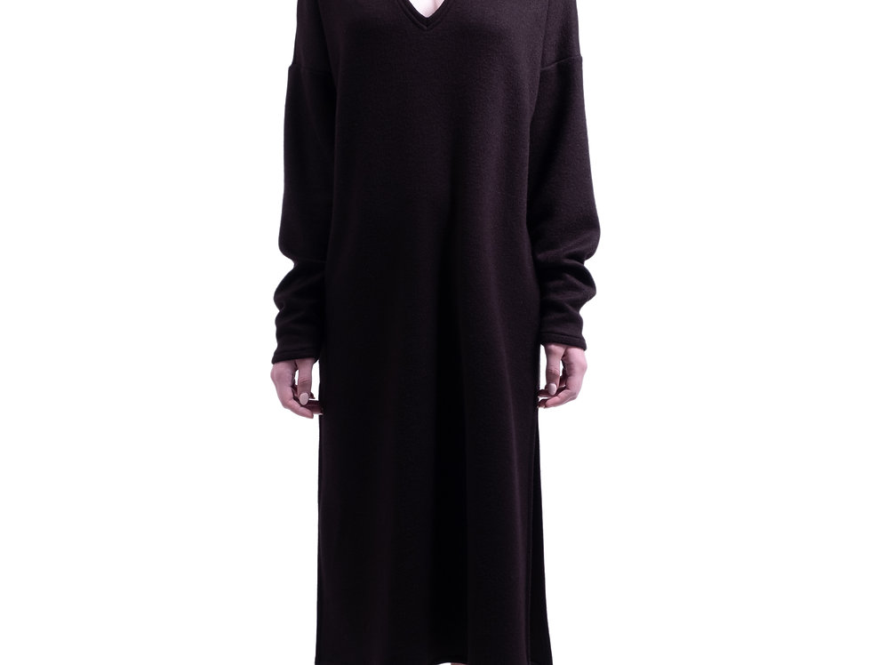 V neck oversized dress with removable snood