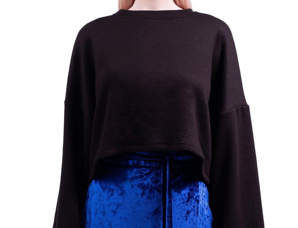 Oversized Cropped Seatshirt -Black