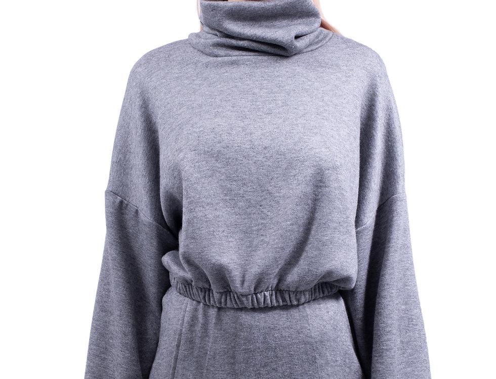 Oversized Polo Neck Cropped Sweatshirt