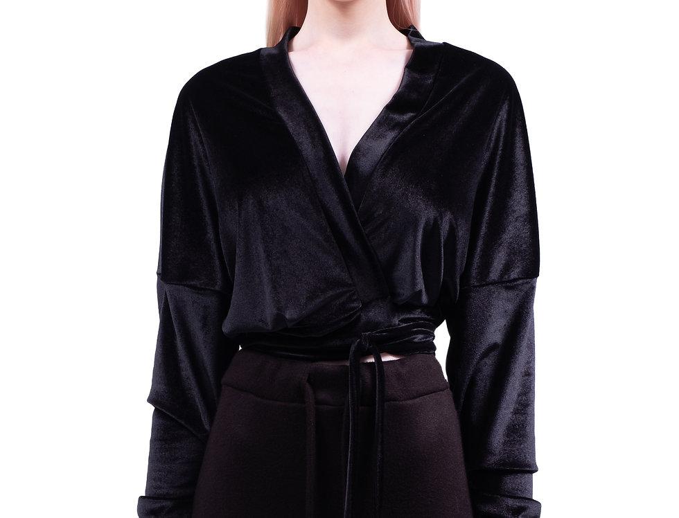 Velvet wrap blouse