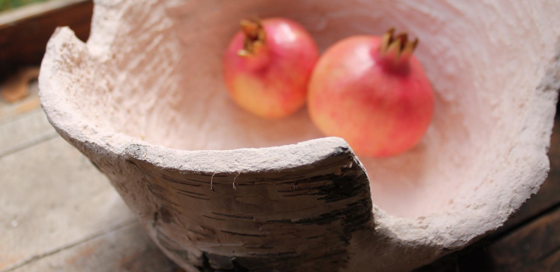 portafrutta con corteccia di betulla