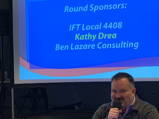 IFPE Local 4408 Table at Stater Senator Andy Manar Trivia Night, February 16 in Springfield