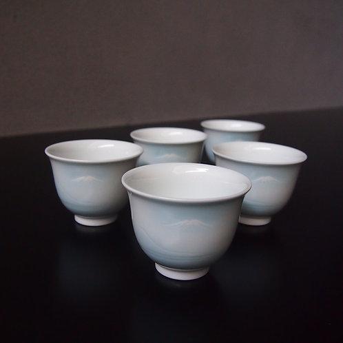 青白磁富士山文煎茶揃