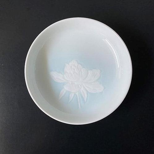 青白磁牡丹文小皿 5個セット