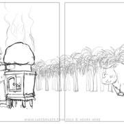 """How the Rhino Got His Skin"" - sample spread 2 sketch"