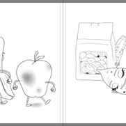 """""""Good Egg and Bad Apple"""" - sample spread sketch 1"""