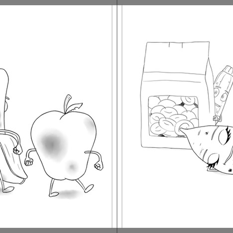 """Good Egg and Bad Apple"" - sample spread sketch 1"
