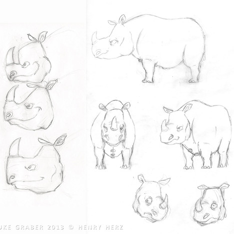 """How the Rhino Got His Skin"" - Rhino character design concepts"