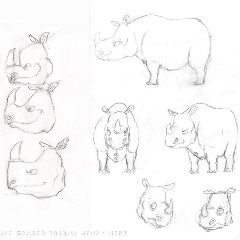 """How the Rhino Got His Skin"" - Rhino character design concepts"