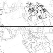 'Hideaway Hollow' illustration - rough/clean linework development