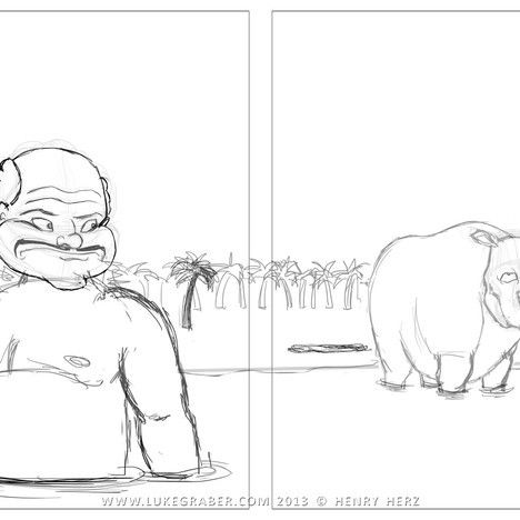 """How the Rhino Got His Skin"" - sample spread 3 sketch"