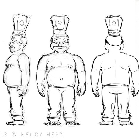 """How the Rhino Got His Skin"" - Cake Baker alternate views concept"