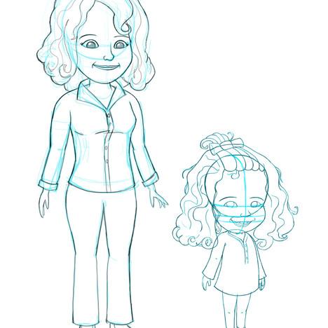 """""""Melanie's Garden"""" - Mom and Melanie sketch"""