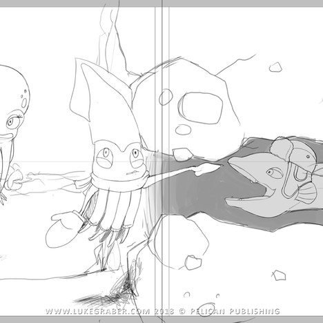 """""""How the Squid Got Two Long Arms"""" - spread sketch 3"""