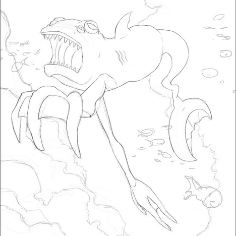 """Underwater Creature"" - final design/pencils"