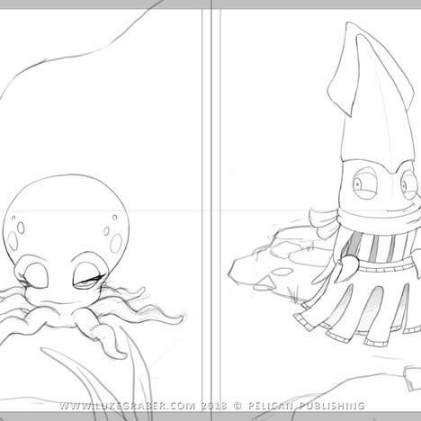 """""""How the Squid Got Two Long Arms"""" - spread sketch 1"""