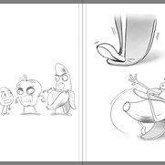 """""""Good Egg and Bad Apple"""" - sample spread sketch 2"""