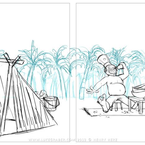 """How the Rhino Got His Skin"" - sample spread 1 sketch"
