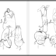 """""""Good Egg and Bad Apple"""" - sample spread sketch 3 (rough)"""