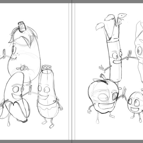 """Good Egg and Bad Apple"" - sample spread sketch 3 (rough)"
