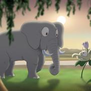 """The Elephant and the Strange Plant"""