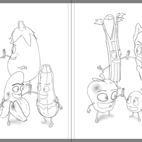 """""""Good Egg and Bad Apple"""" - sample spread sketch 3"""