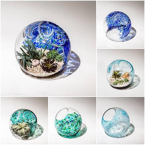 """10""""  Handblown Art Glass Terrarium"""