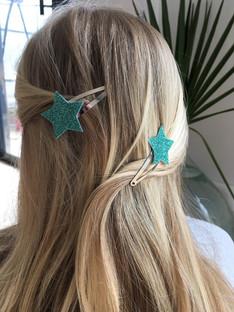 Barrettes étoiles turquoise