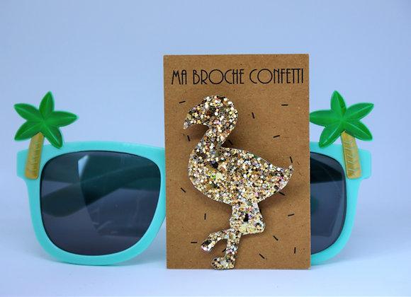 Broche Paillettes caviar modèle Flamant