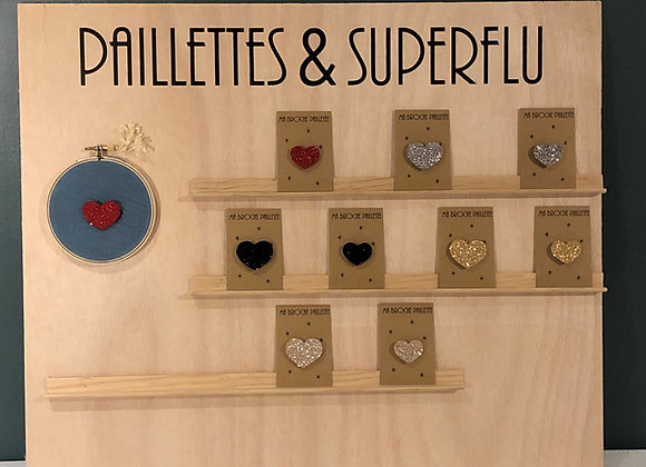 Broche paillettes & superflu coeur st valentin