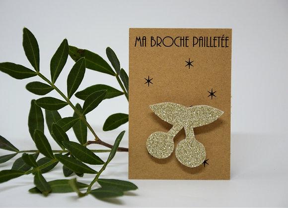Broche Paillettes & Superflu cerises or clair