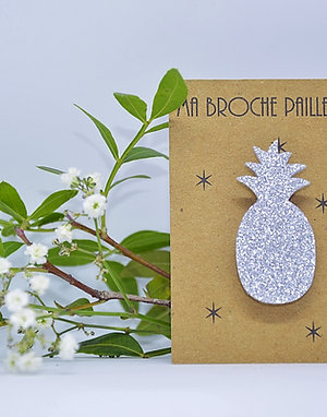 Broche ananas paillettes