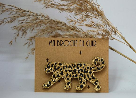 Broche Paillettes & Superflu cuir Léopard