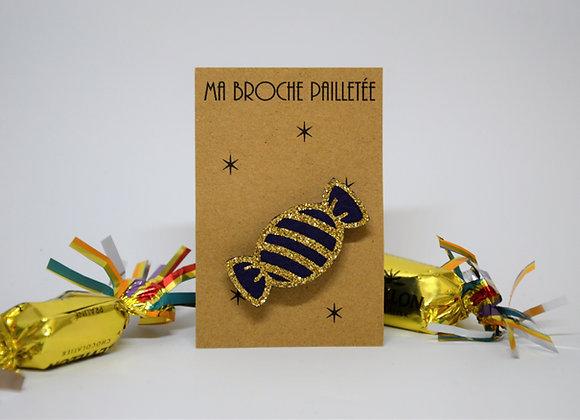 Broche Paillettes & Superflu bonbon doré